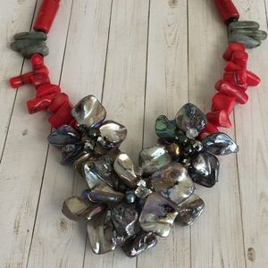 Red Coral and Mother of Pearl Necklace